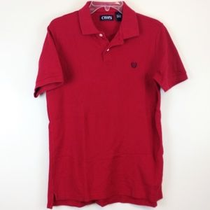 Chaps Polo Men's Solid Red with Navy Laurel Crest